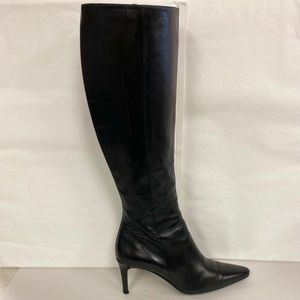 COACH Gina Tall Leather Heeled Boots Black Size 7